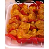 Brocheta Amarilla de Pollo con Pimiento, Pack 0.,4 Kg